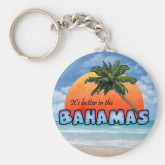 It's better in the Bahamas Basic Round Button Key Ring