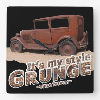 It's My Style GRUNGE Rusty Car & Letters Square Wall Clock