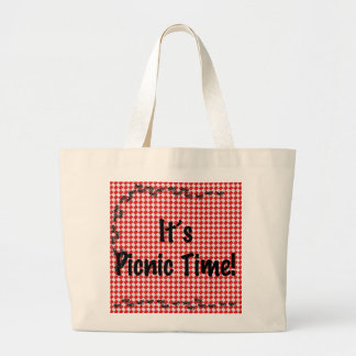 It's Picnic Time! Red Checkered Table Cloth w/Ants Large Tote Bag