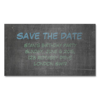 Its Real Chalkboard Birthday Save The Date Magnetic Business Card