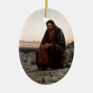 Ivan Kramskoy- Christ in the Wilderness - Fine Art Christmas Ornament