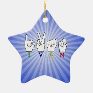IVAN  NAME ASL FINGERSPELLED SIGN CHRISTMAS ORNAMENT