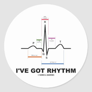 I've Got Rhythm (ECG - EKG Heart Beat) Round Sticker
