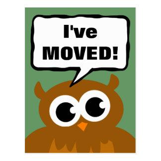 I've move new address postcard | cute owl cartoon