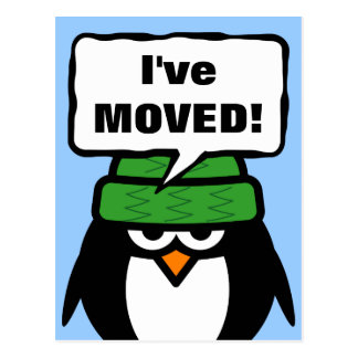 I've move new address postcard with cute penguin