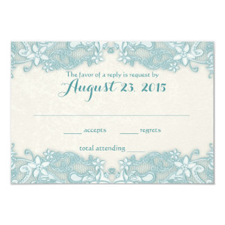 Ivory and Aqua Victorian Floral Lace Response Card 9 Cm X 13 Cm Invitation Card