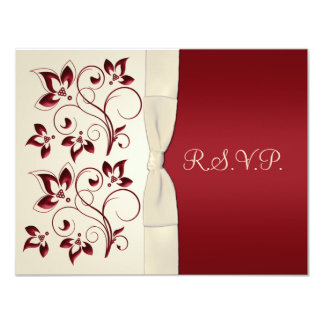 Ivory and Claret RSVP Card