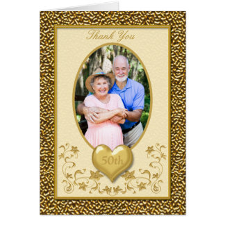 Ivory and Gold Floral 50th Thank You Card