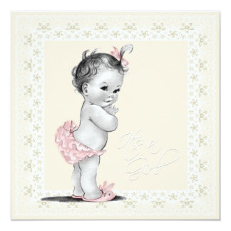Ivory and Pink Baby Girl Shower Card
