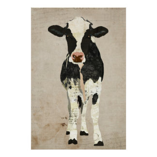Ivory & Black Cow Art Poster