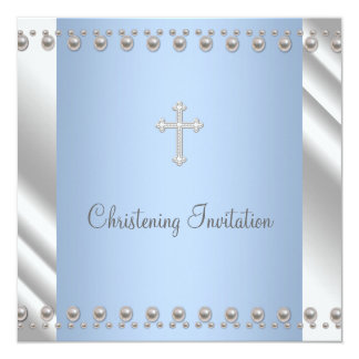 Ivory Blue Pearl Cross Boy Christening 13 Cm X 13 Cm Square Invitation Card