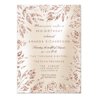 Ivory Creamy Rose Gold Glitter Leafs Floral Frame Card