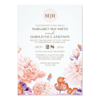 Ivory Floral Vintage Elegant Garden Wedding 13 Cm X 18 Cm Invitation Card