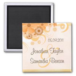 Ivory Gold Peach Floral Wedding Save The Date Square Magnet