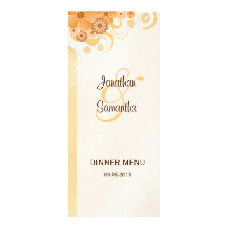 Ivory Gold Peach Hibiscus Floral Dinner Menu Cards Custom Rack Cards