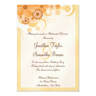 Ivory Gold Peach Hibiscus Floral Rehearsal Dinner Card