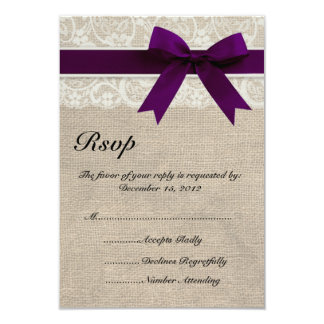 Ivory Lace and Burlap Look Plum RSVP Card 9 Cm X 13 Cm Invitation Card