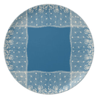 Ivory Lace Blue Shabby Chic Dinner Plates