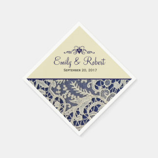 Ivory Lace Navy Blue Elegant Formal Wedding Disposable Serviettes