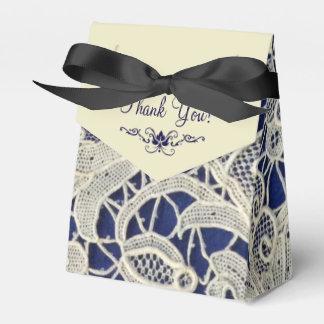 Ivory Lace Navy Blue Elegant Wedding Thank You Wedding Favour Box