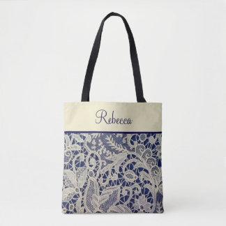 Ivory Lace Navy Blue Wedding Bridesmaid Gift Tote Bag