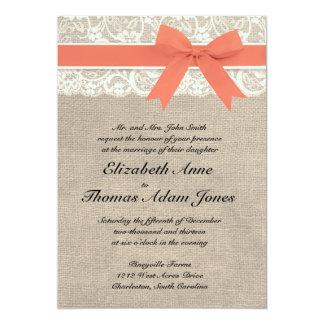 "Ivory Lace Rustic Burlap Wedding Invitation- Coral 5"" X 7"" Invitation Card"