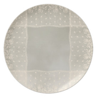 Ivory Lace Shabby Chic Dinner Plate