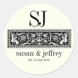 Ivory Monogram Logo Names Date Wedding Label Classic Round Sticker