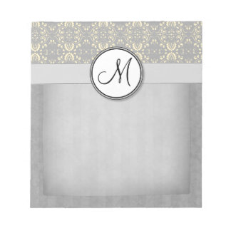 Ivory on Silver Damask and Stripes with Monogram Memo Pads