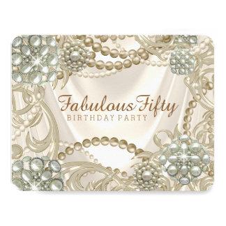 Ivory Pearl Birthday Party 11 Cm X 14 Cm Invitation Card