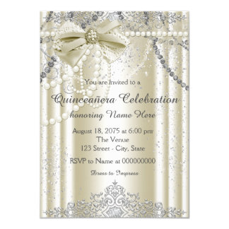 Ivory Pearl Quinceanera 4.5x6.25 Paper Invitation Card