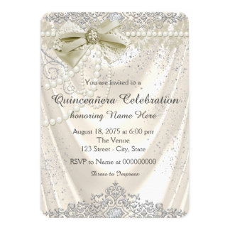 Ivory Pearl Satin Quinceanera 11 Cm X 16 Cm Invitation Card