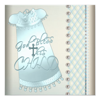 Ivory Pearl Teal Blue Christening Invitations
