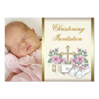 Ivory Pink Gold Baby Girl Photo Christening Card