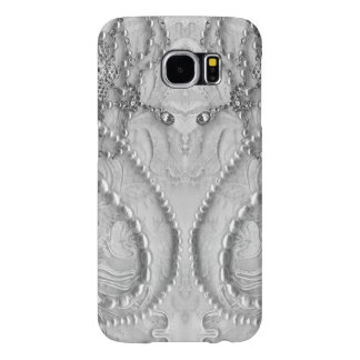 Ivory White Girly Lace And Purls Samsung Galaxy S6 Cases