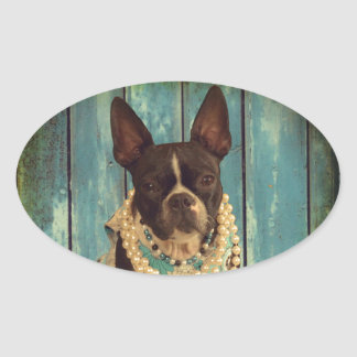 Ivy the Boston Terrier Oval Sticker