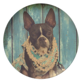 Ivy the Boston Terrier Party Plate