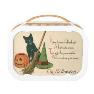 Jack O' Lantern Black Cat Witch's Hat Broom Lunch Box