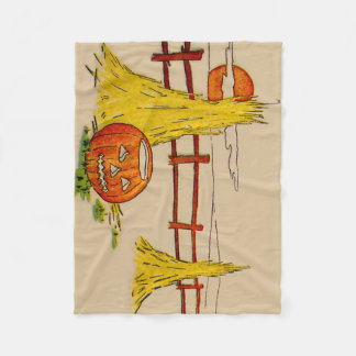 Jack O' Lantern Haystack Full Moon Clouds Fleece Blanket