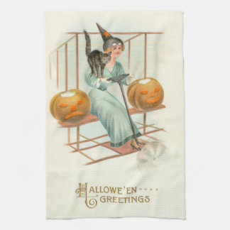 Jack O' Lantern Witch Black Cat Airplane Tea Towel