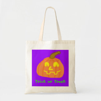 Jack OLantern Trick or Treat Budget Tote Canvas Bags