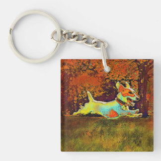 jack russell in autumn keychain