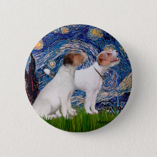 Jack Russell Pair 4 - Starry Night 6 Cm Round Badge