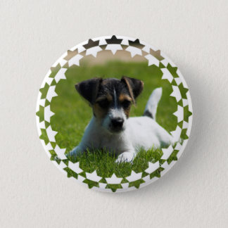 Jack Russell Puppy Round Button