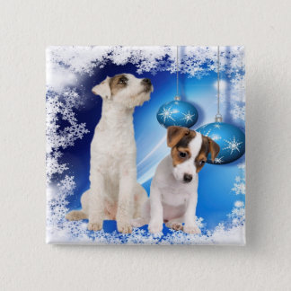Jack Russell Terrier Puppy Let It Snow Design 15 Cm Square Badge