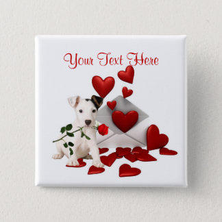 Jack Russell Terrier Red Rose Valentine Design 15 Cm Square Badge