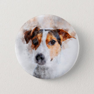 Jack Russell Terrier Watercolor Art 6 Cm Round Badge