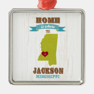 jackson, mississippi Map – Home Is Where Christmas Ornament