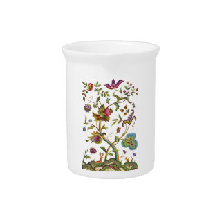 Jacobean Crewel Embroidery Tree of Life Pitcher