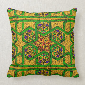 Jade Green and Gold knot work Throw Cushion